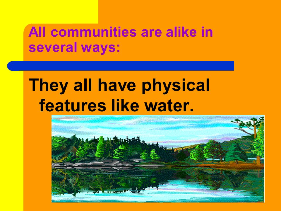 All communities are alike in several ways: