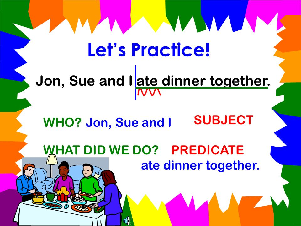 Let's Practice! Jon, Sue and I ate dinner together. SUBJECT WHO