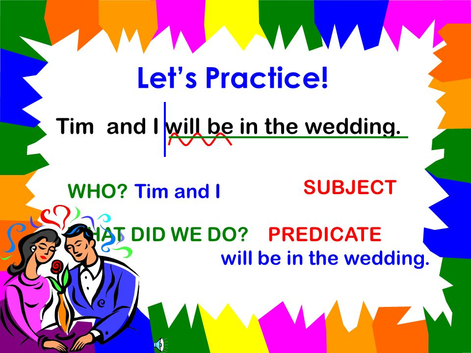 Let's Practice! Tim and I will be in the wedding. SUBJECT WHO