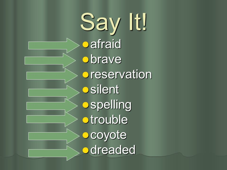 Say It! afraid brave reservation silent spelling trouble coyote