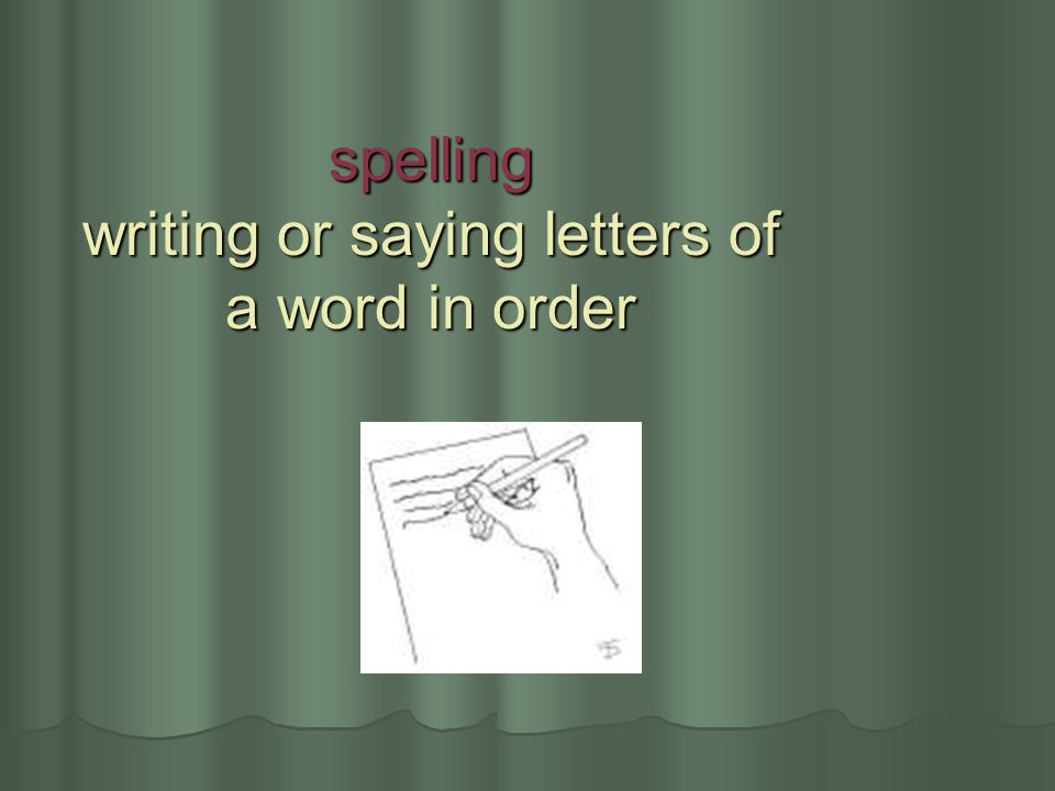 spelling writing or saying letters of a word in order
