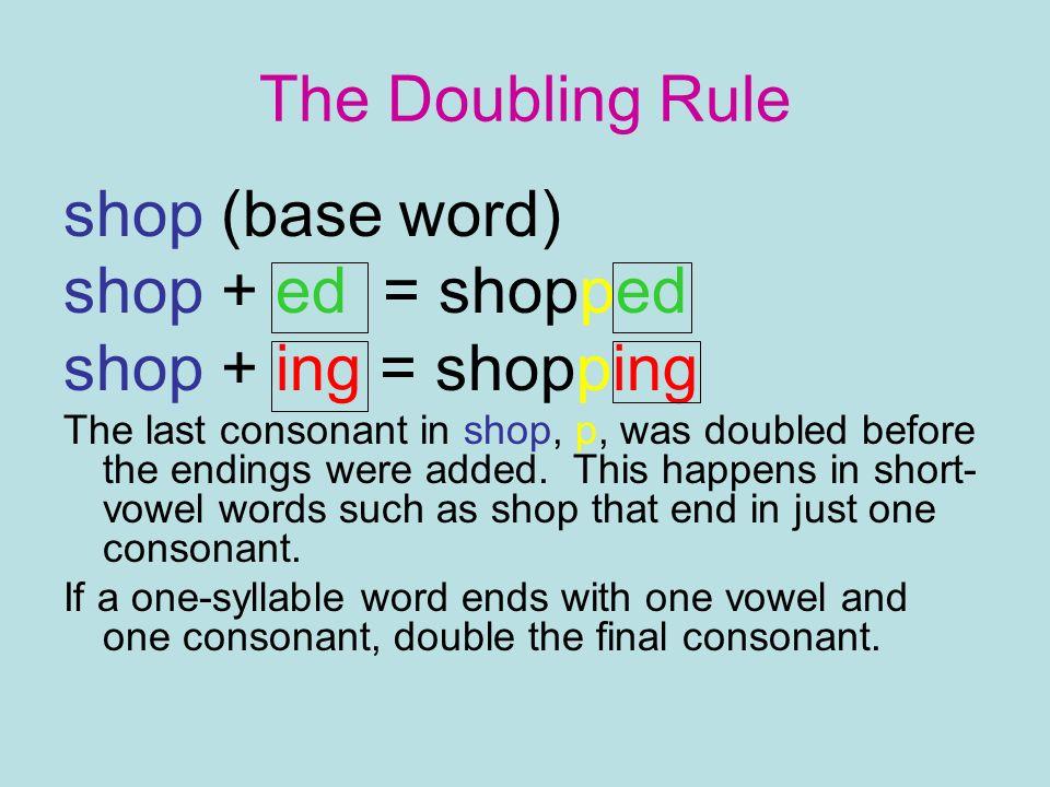 The Doubling Rule shop (base word) shop + ed = shopped