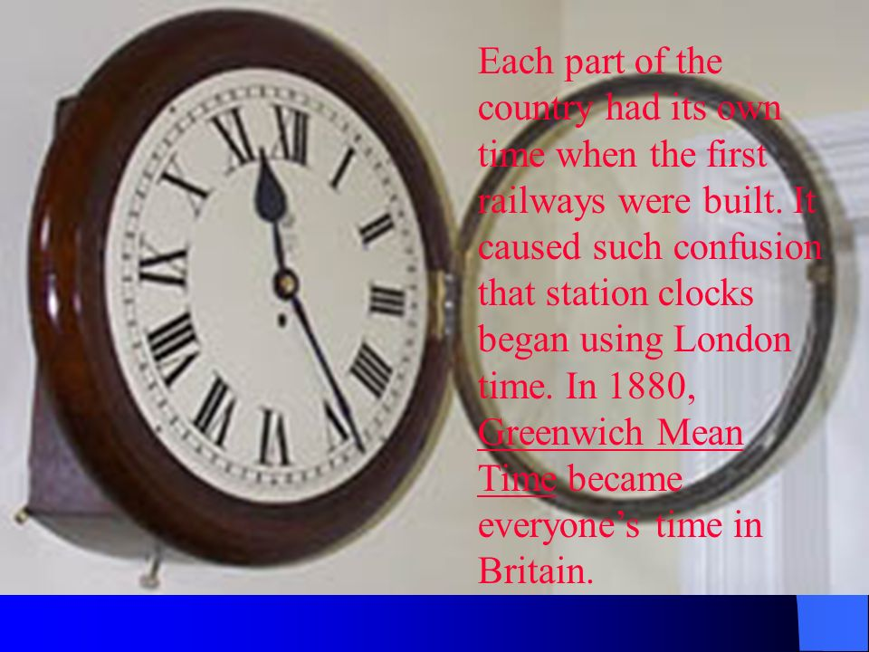 Each part of the country had its own time when the first railways were built.