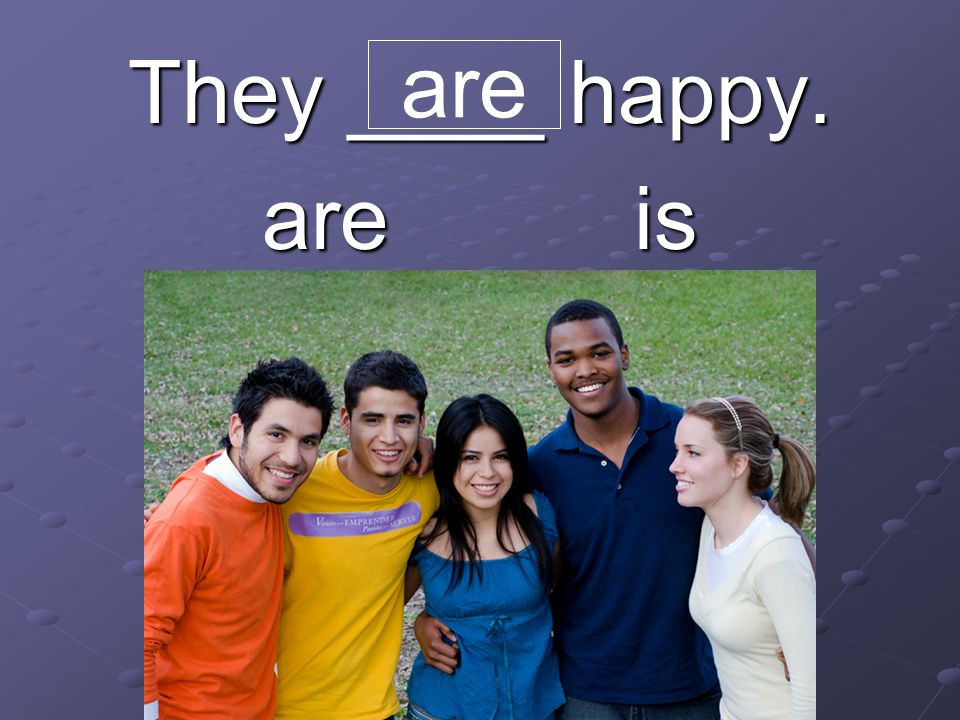 They ____ happy. are is are
