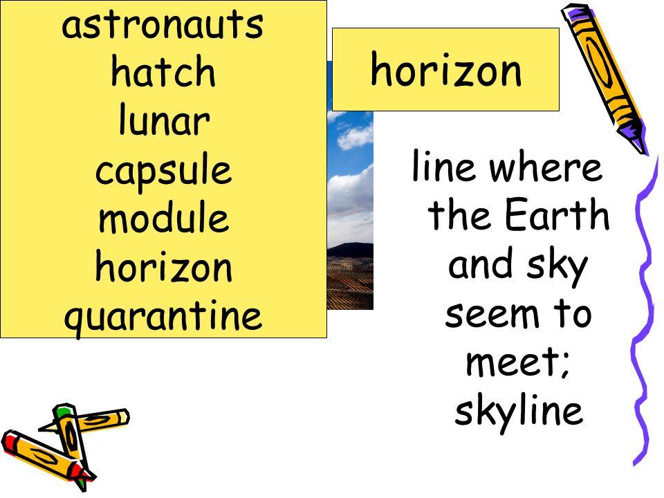 line where the Earth and sky seem to meet; skyline