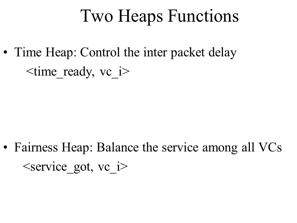 Two Heaps Functions Time Heap: Control the inter packet delay