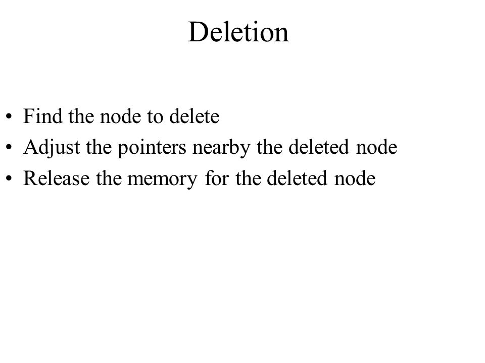 Deletion Find the node to delete