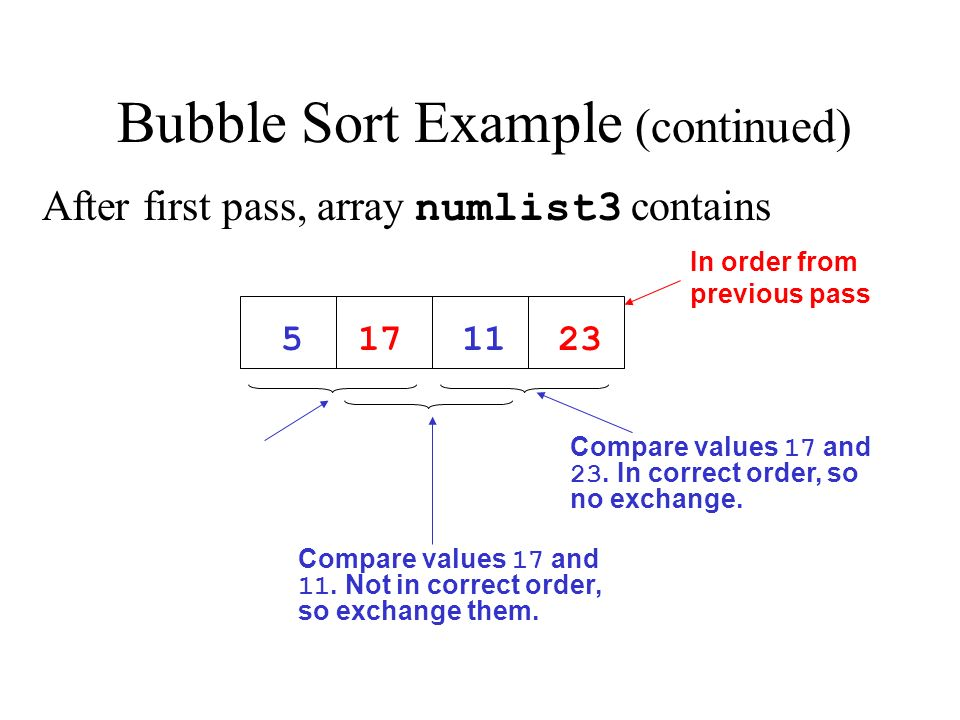 Bubble Sort Example (continued)