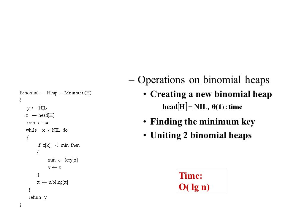 Operations on binomial heaps