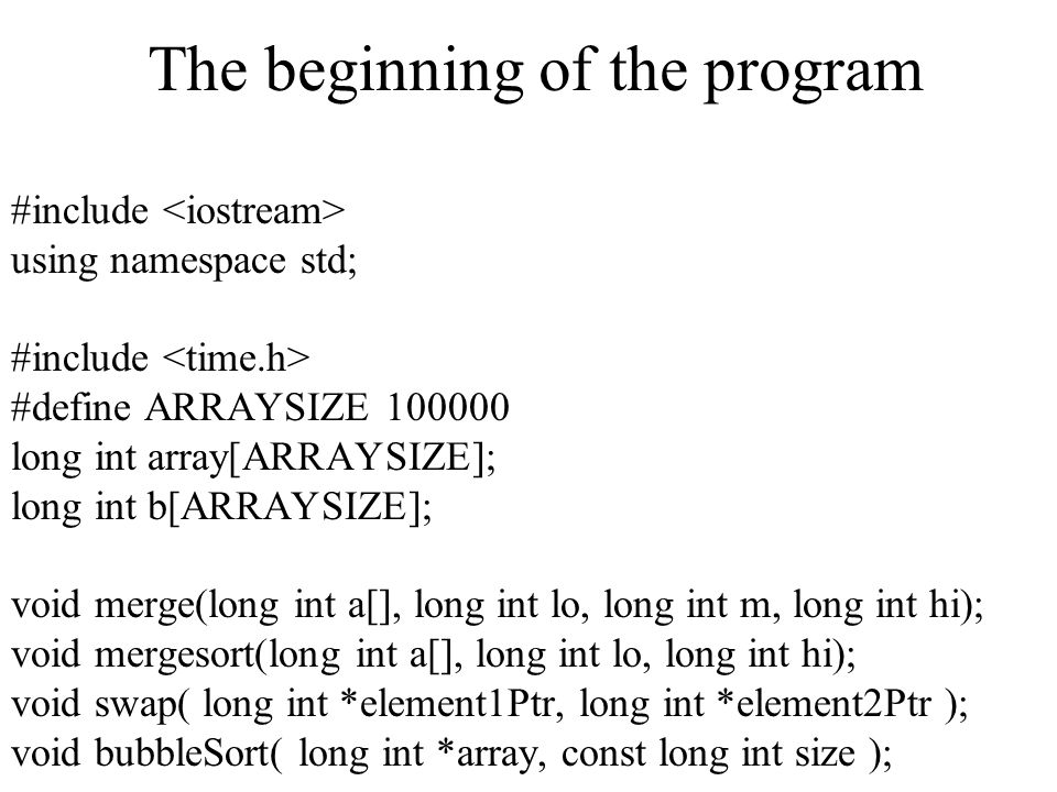 The beginning of the program