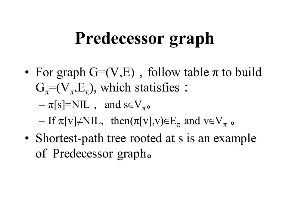 Predecessor graph For graph G=(V,E),follow table π to build Gπ=(Vπ,Eπ), which statisfies: π[s]=NIL, and s∈Vπ。