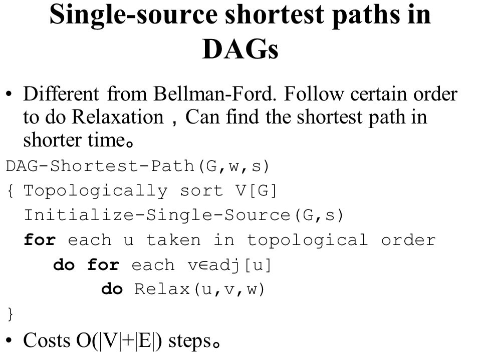 Single-source shortest paths in DAGs
