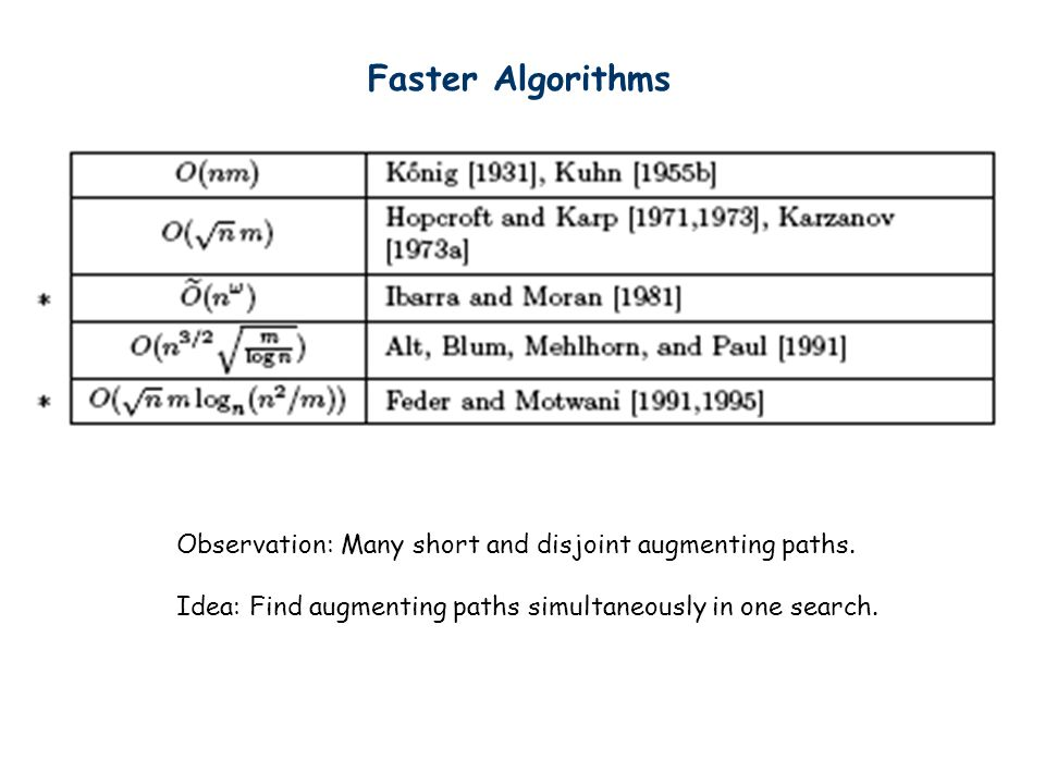 Faster Algorithms Observation: Many short and disjoint augmenting paths.