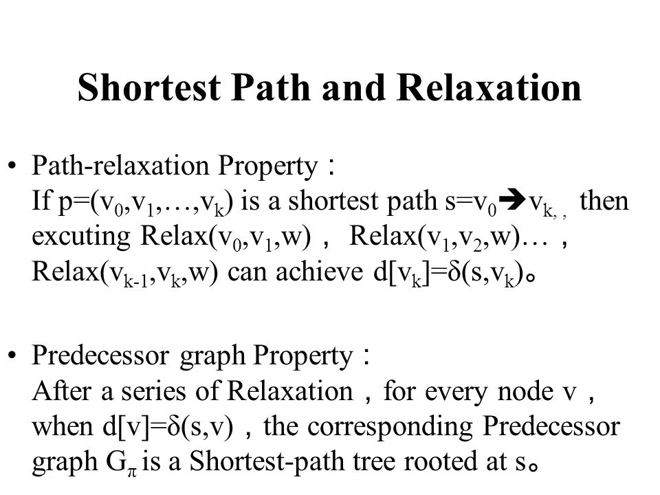 Shortest Path and Relaxation