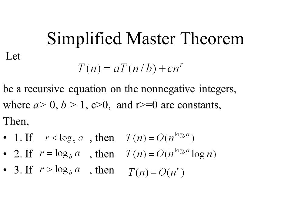 Simplified Master Theorem