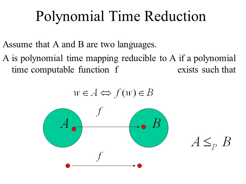 Polynomial Time Reduction