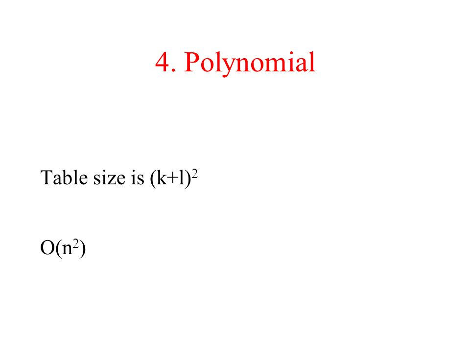 4. Polynomial Table size is (k+l)2 O(n2)