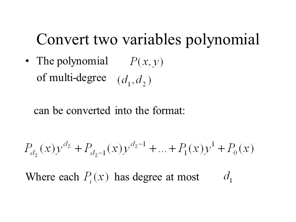 Convert two variables polynomial