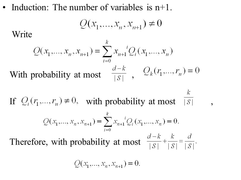 Induction: The number of variables is n+1.