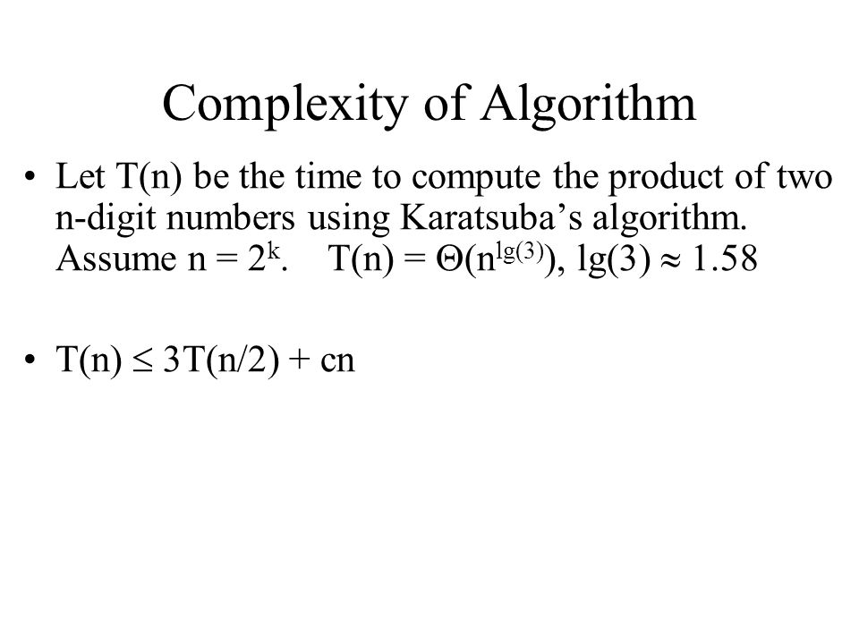 Complexity of Algorithm