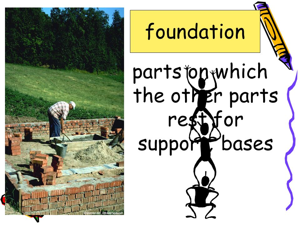 parts on which the other parts rest for support; bases