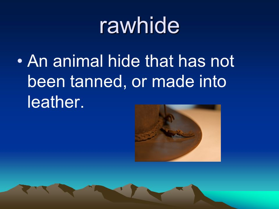 rawhide An animal hide that has not been tanned, or made into leather.