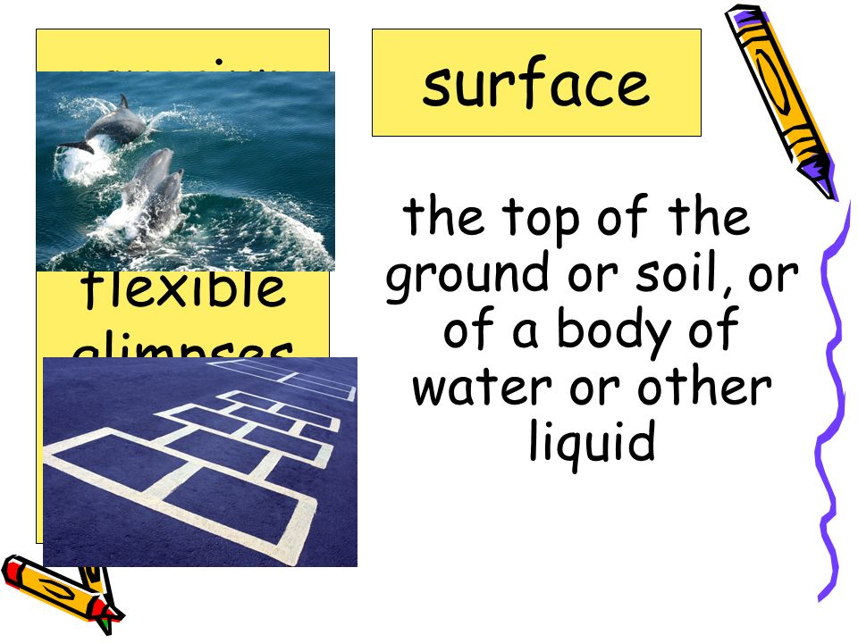 the top of the ground or soil, or of a body of water or other liquid