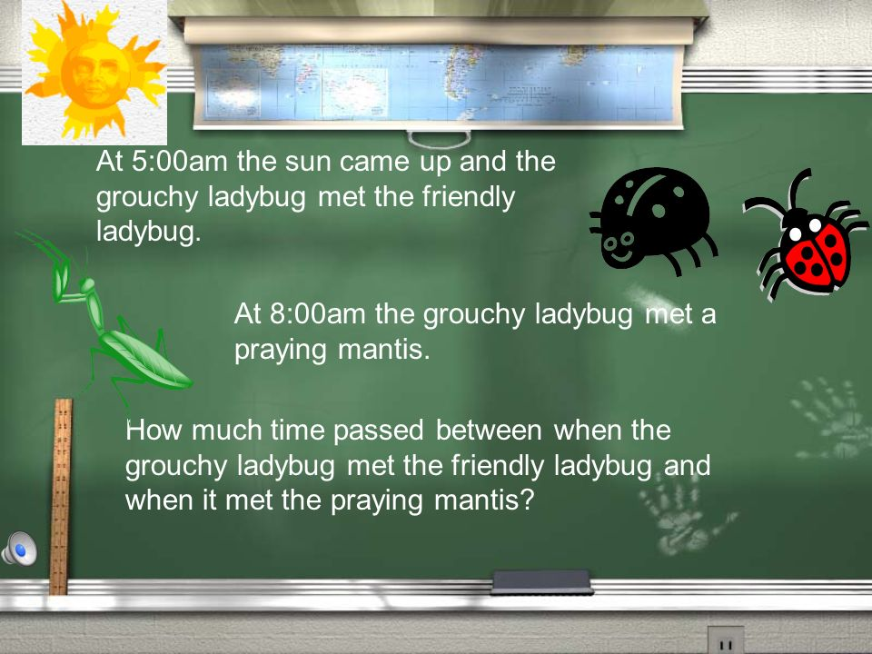 At 5:00am the sun came up and the grouchy ladybug met the friendly ladybug.