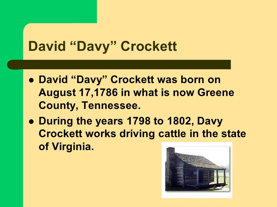 David Davy CrockettDavid Davy Crockett was born on August 17,1786 in what is now Greene County, Tennessee.