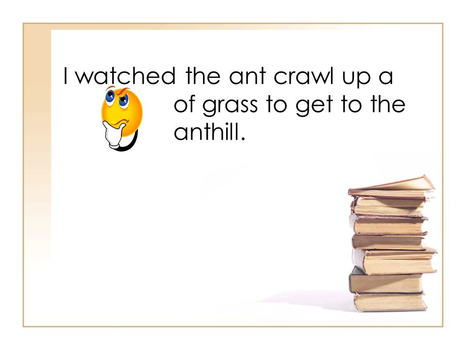 I watched the ant crawl up a of grass to get to the anthill.