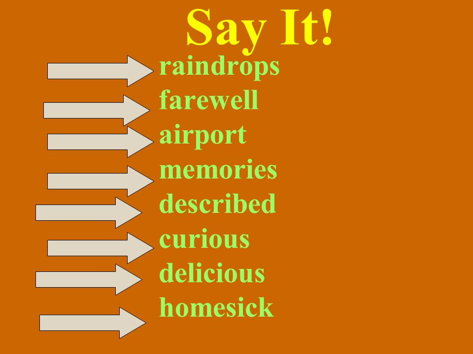 Say It! raindrops farewell airport memories described curious