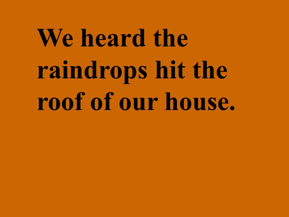 We heard the raindrops hit the roof of our house.