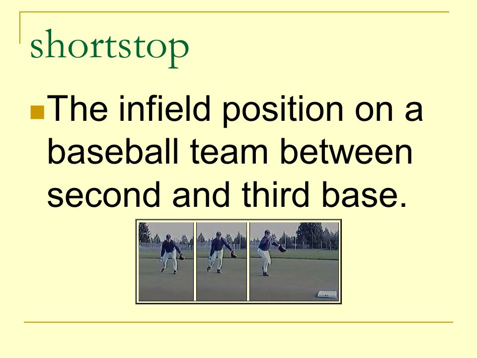 shortstop The infield position on a baseball team between second and third base.