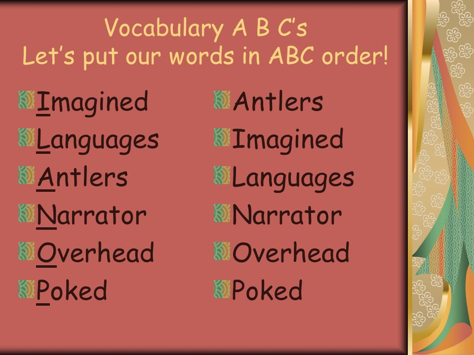 Vocabulary A B C's Let's put our words in ABC order!