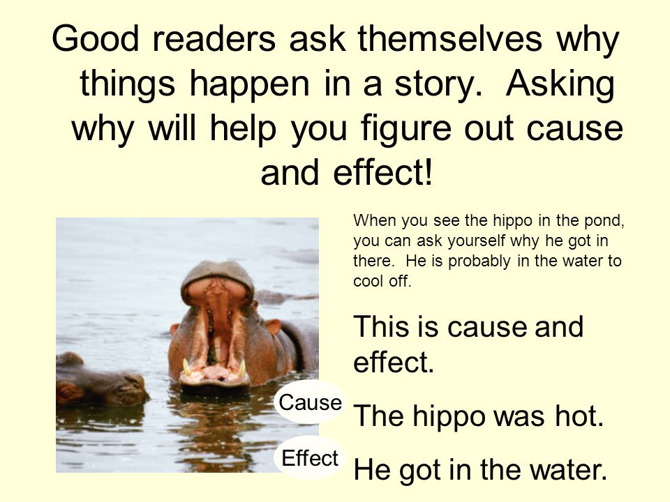 Good readers ask themselves why things happen in a story
