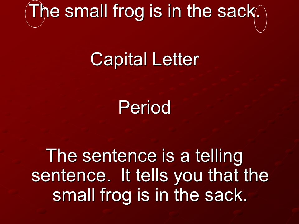 The small frog is in the sack.