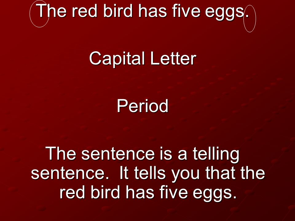 The red bird has five eggs.
