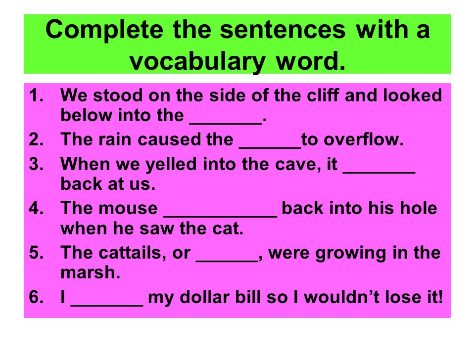 Complete the sentences with a vocabulary word.