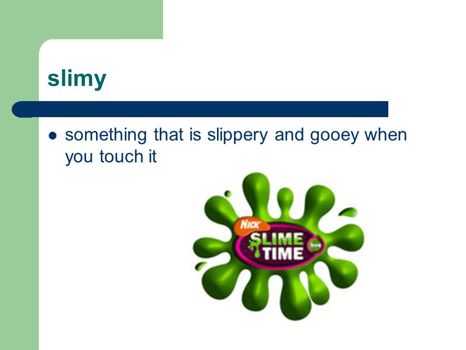 slimy something that is slippery and gooey when you touch it