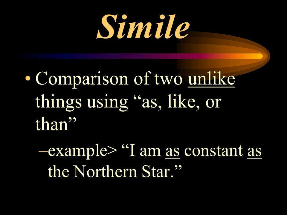 Simile Comparison of two unlike things using as, like, or than