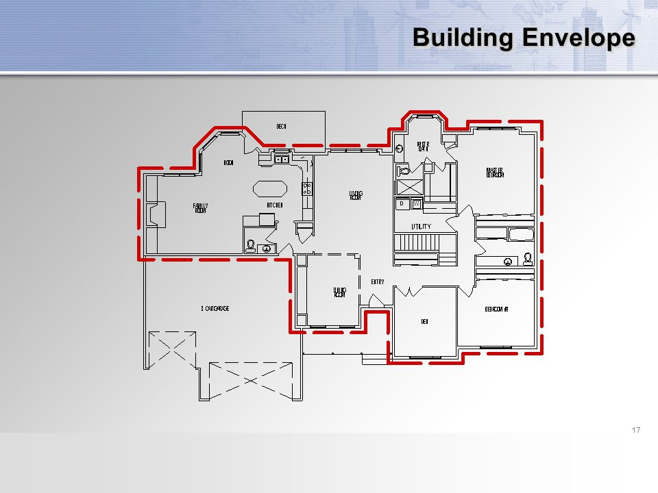 17 building envelope defining the area of the building envelope of conditioned space 17 - Thermal Envelope House Plans