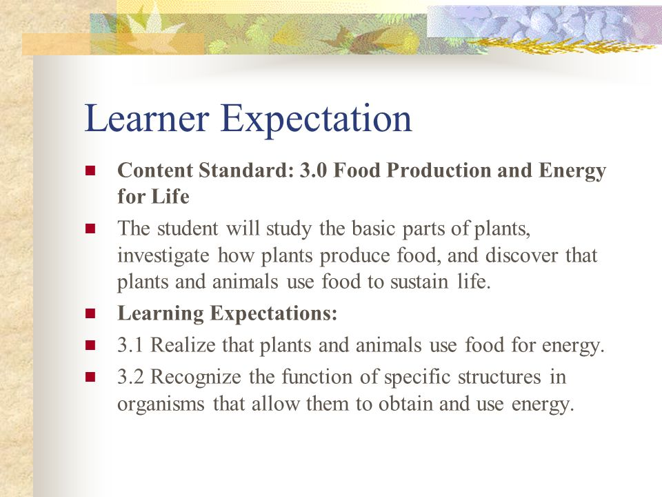Learner Expectation Content Standard: 3.0 Food Production and Energy for Life.