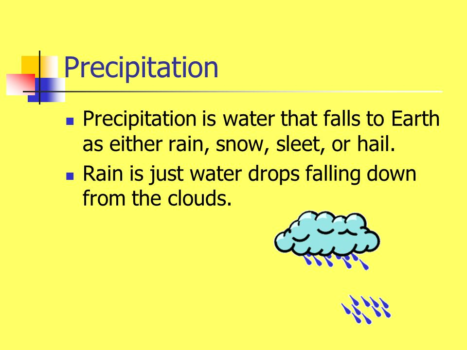 Precipitation Precipitation is water that falls to Earth as either rain, snow, sleet, or hail.
