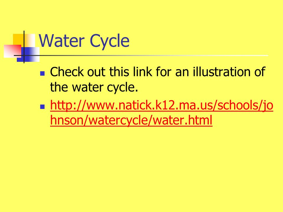 Water Cycle Check out this link for an illustration of the water cycle.