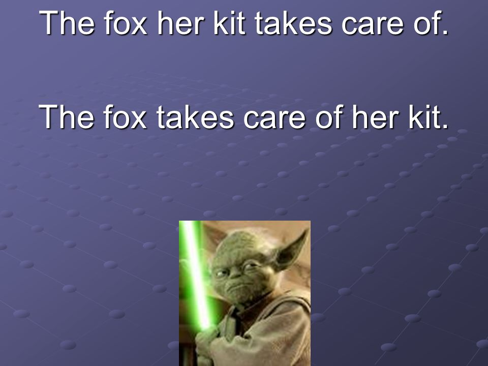 The fox her kit takes care of. The fox takes care of her kit.