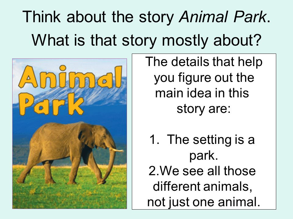 Think about the story Animal Park. What is that story mostly about