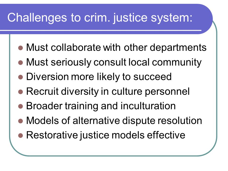 Challenges to crim. justice system:
