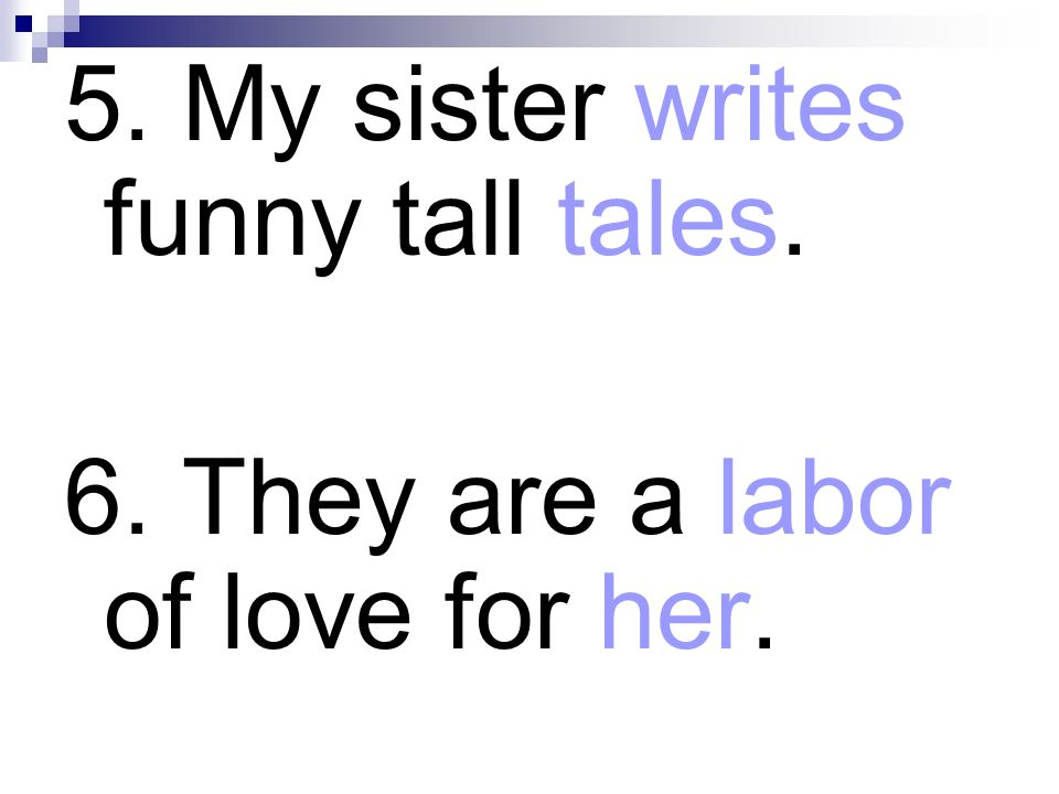 5. My sister writes funny tall tales.