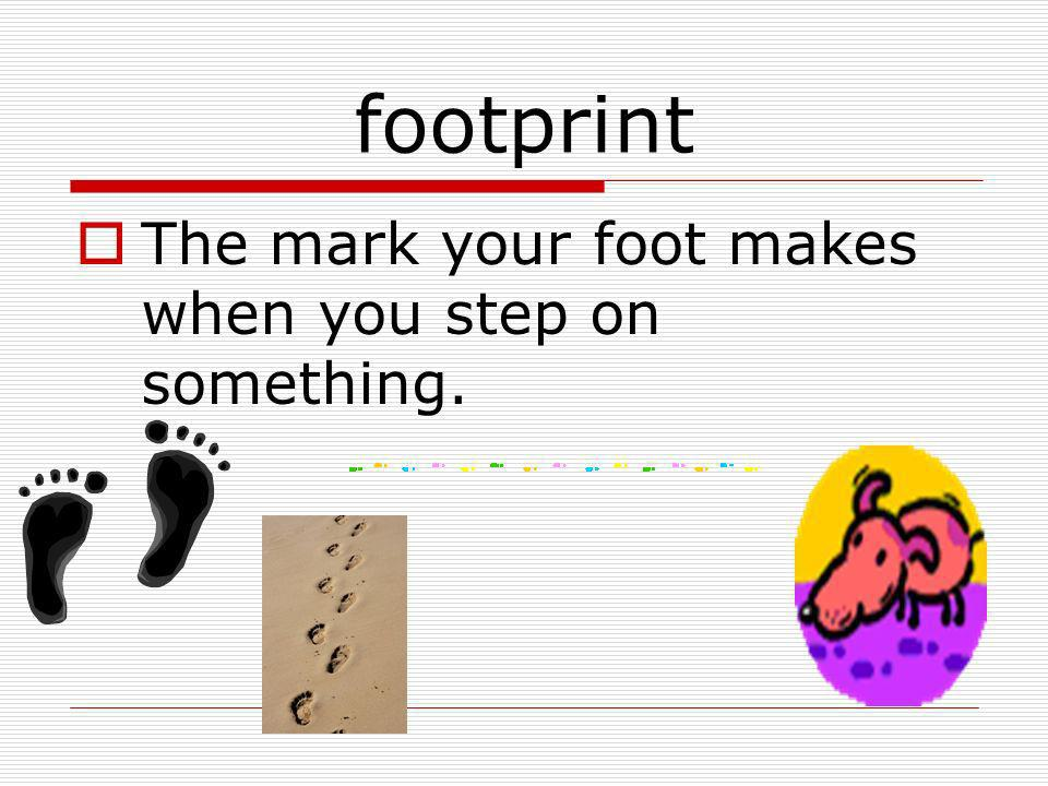 footprint The mark your foot makes when you step on something.