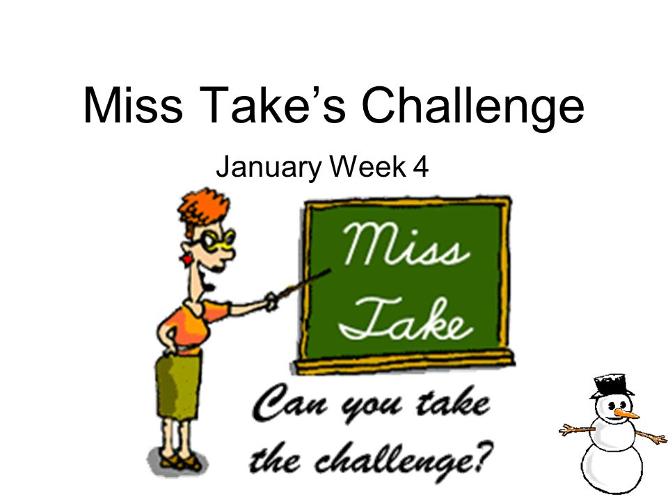 Miss Take's Challenge January Week 4